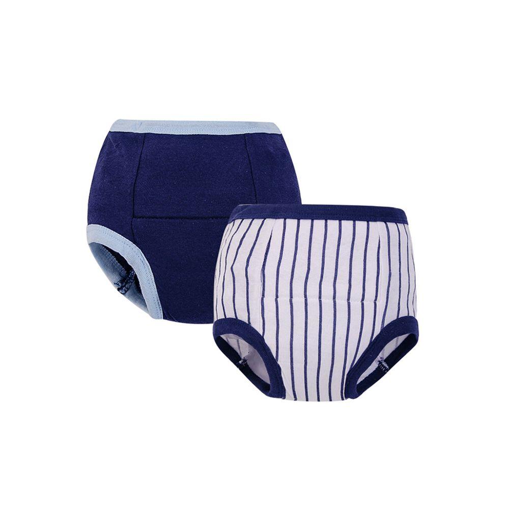 美國 Luvable Friends - 100%純棉嬰幼兒學習褲2件組-深藍直紋