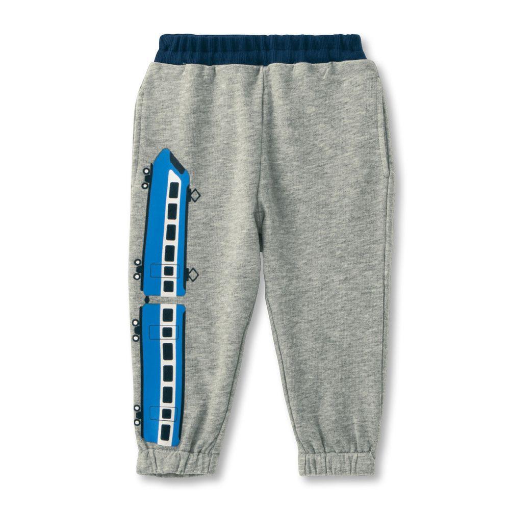 日本千趣會 - (小童) 純棉微裏毛印花長褲-藍色電車-灰