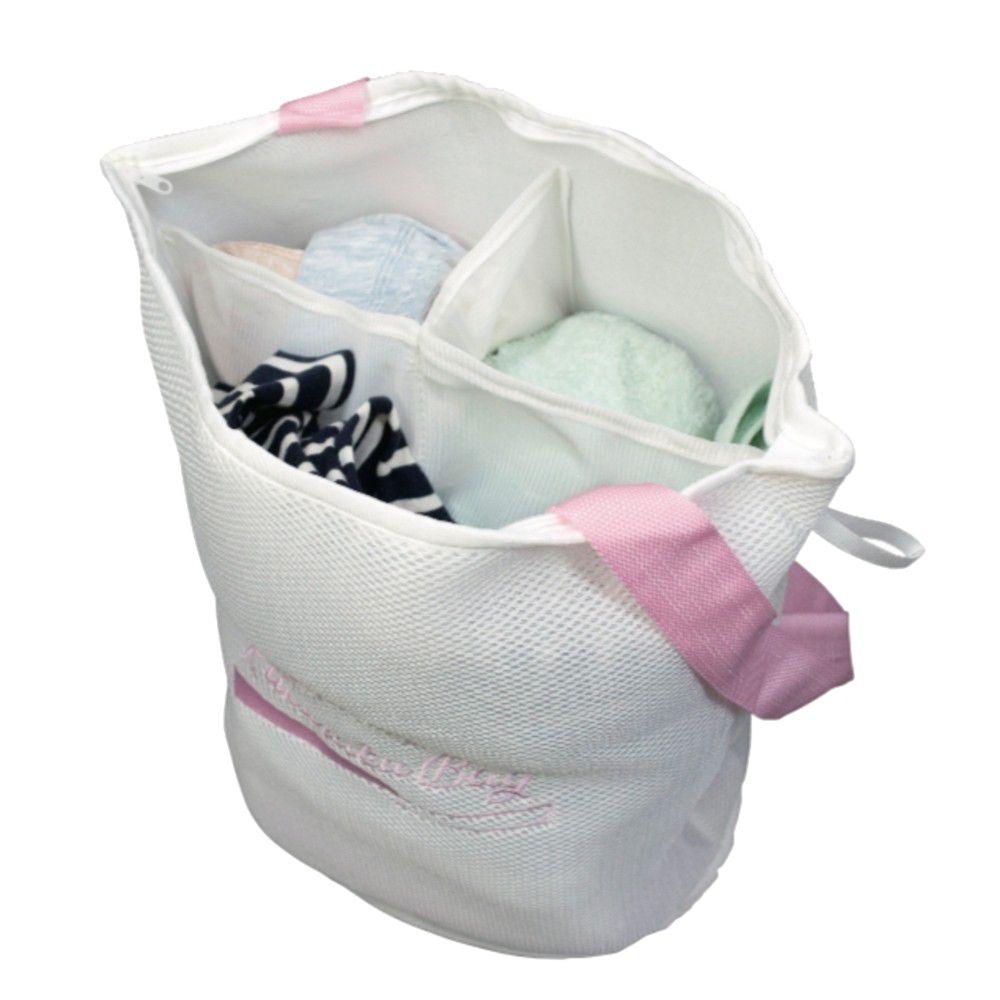 日本 alphax - 喜衣袋 三層加厚萬用便利洗衣袋/洗衣籃-粉紅-分隔設計