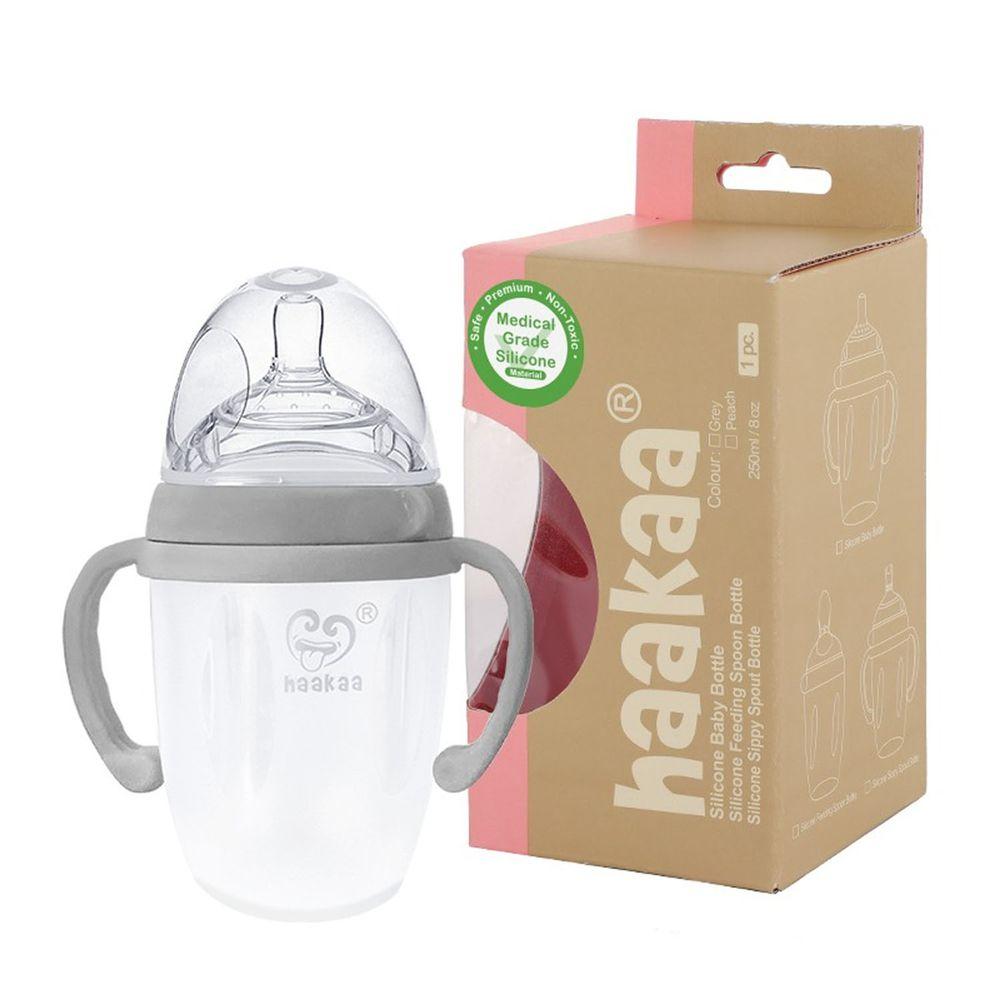紐西蘭 HaaKaa - 第三代專利多功能哺乳系列-防脹氣矽膠奶瓶-附專屬奶嘴+雙握把配件-銀灰-250ml