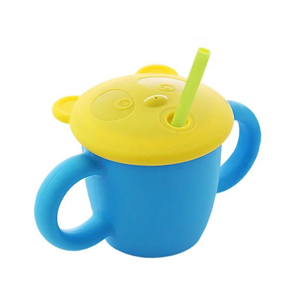 韓國 sillymann - 100%鉑金矽膠 兒童專用雙手握把喝水學習杯(220ml)-寶貝藍