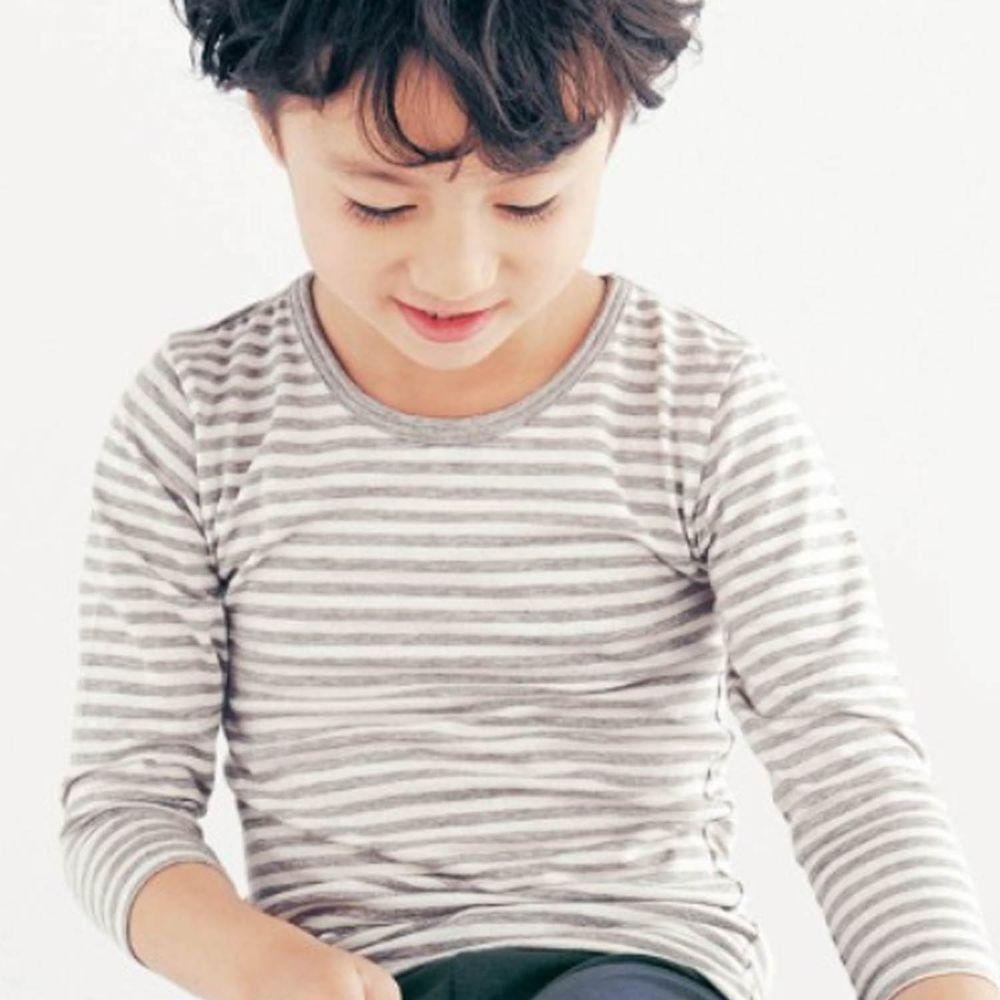 日本千趣會 - 95%棉 (兒童)圓領九分袖發熱衣-灰條紋