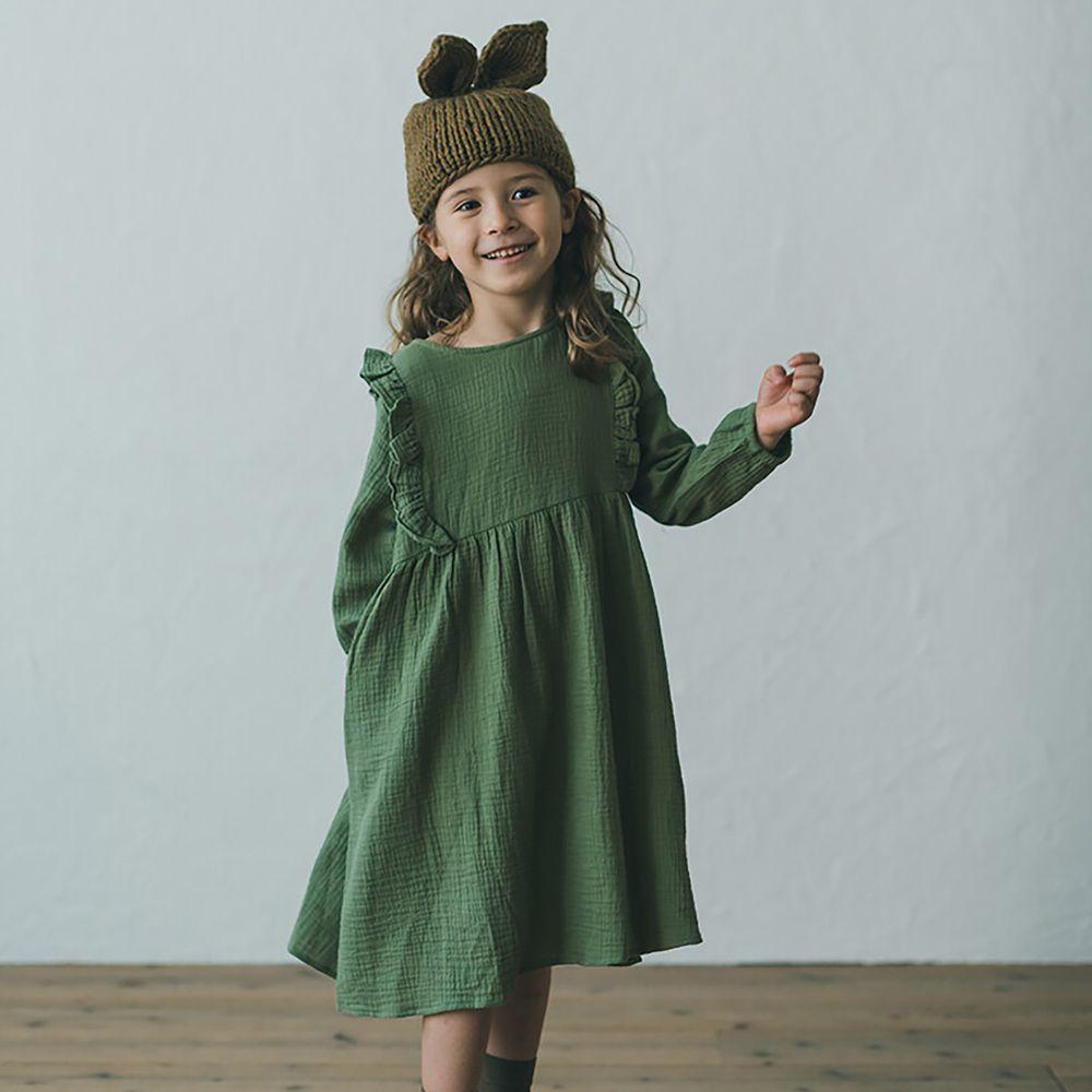 日本 riziere - 純棉 復古皺痕小荷葉長袖洋裝-原野綠