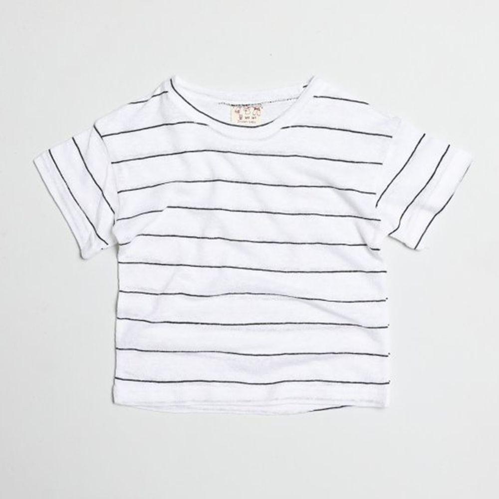 韓國製 - 棉麻簡約條紋T-白