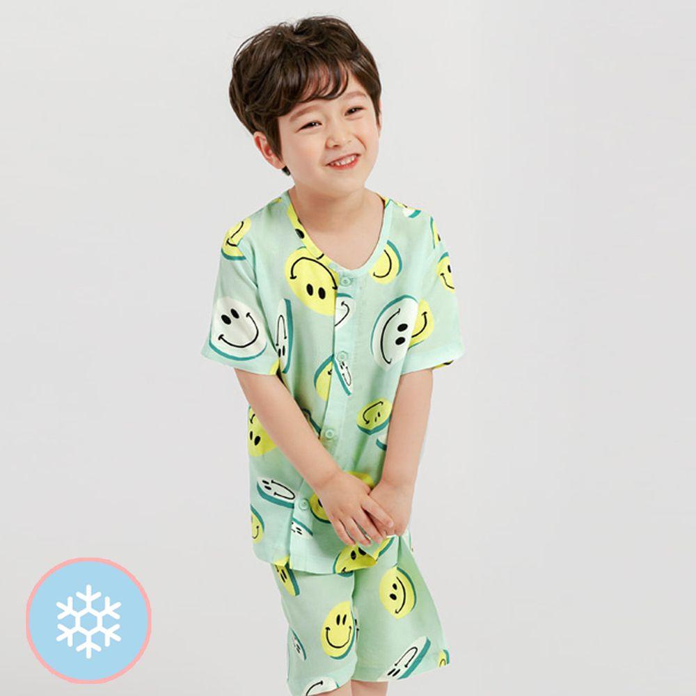 韓國 Mellisse - 韓製涼感嫘縈短袖睡衣/家居服-薄荷綠笑臉