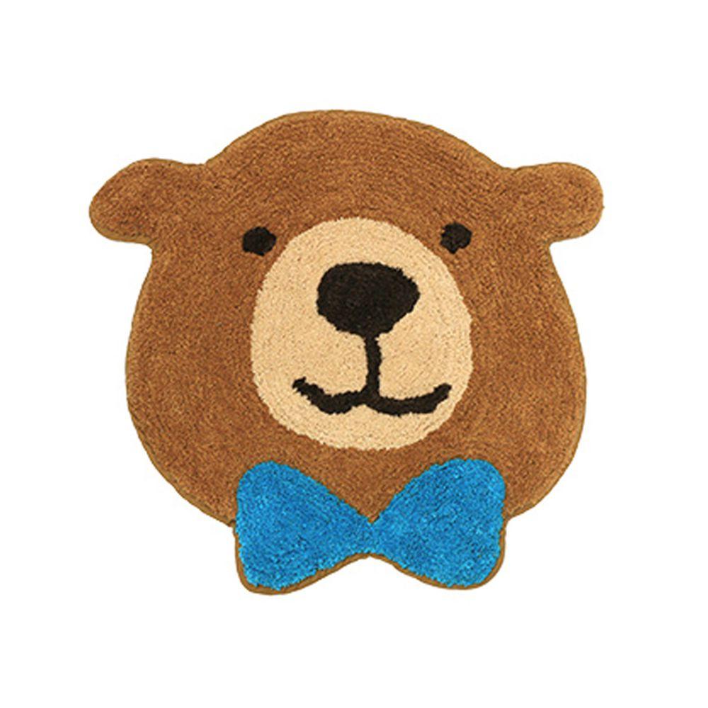 日本 TOMO - 可愛動物大頭地墊/腳踏墊-領結熊熊-咖啡 (S(約44x45cm))
