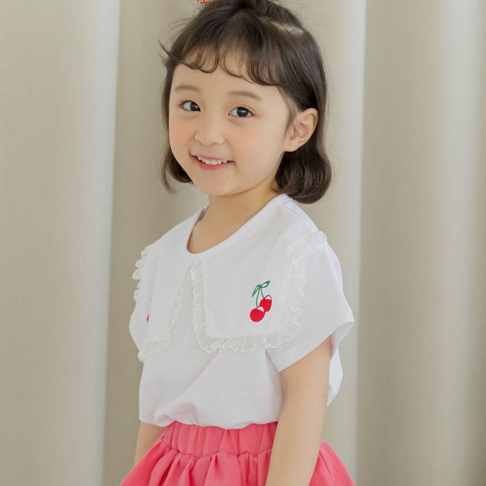 韓國 Orange Mom - 櫻桃蕾絲滾邊領上衣-白