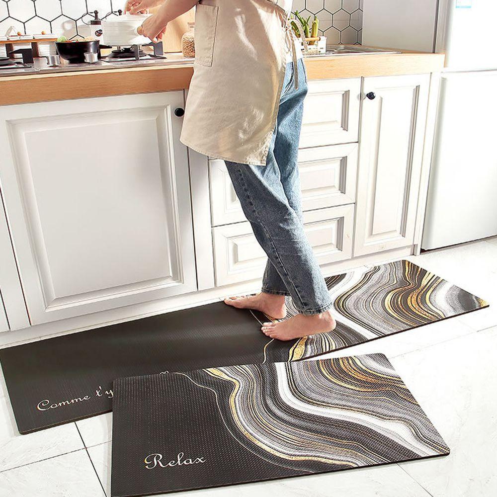 廚房仿皮革PVC防水腳踏墊-黑色流金