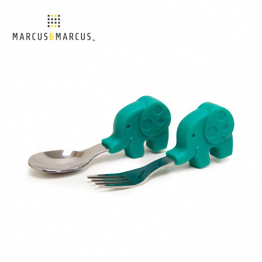 MARCUS&MARCUS - 動物樂園寶寶手握訓練叉匙-綠大象