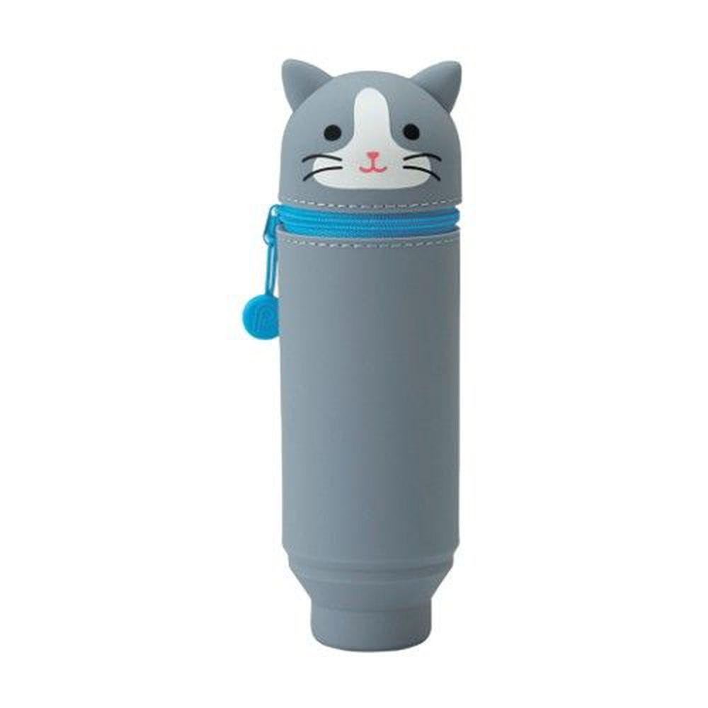 日本文具 LIHIT - 直立式可伸縮鉛筆盒(15支筆)-貓咪-灰 (Standard size)