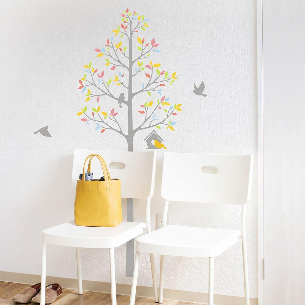 日本 TOKYO STICKER - 日本製 質感無邊框壁貼 [精緻轉印款]-樹與鳥屋-繽紛 (100*32cm)