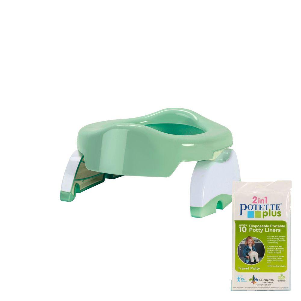 美國 Potette Plus - 可攜式馬桶-薄荷綠+拋棄式防漏袋10入裝)