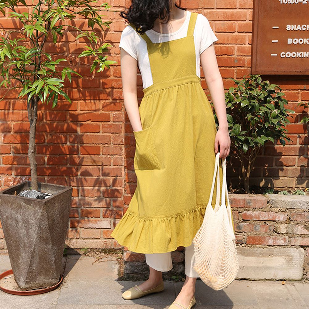 韓系荷葉裙擺花邊圍裙-薑黃色