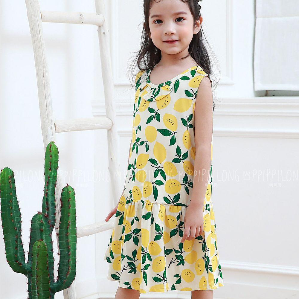 韓國 Ppippilong - 天然纖維涼感洋裝-清新檸檬