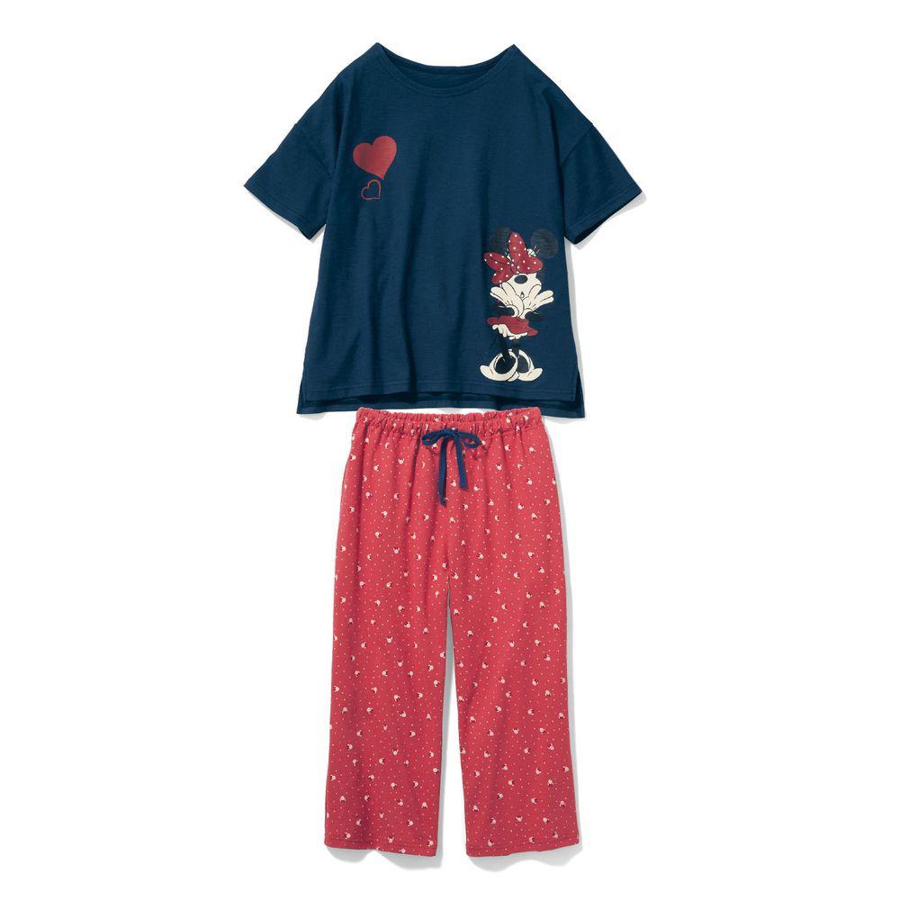 日本千趣會 - 迪士尼純棉印花短袖家居服(媽媽)-蝴蝶結米妮-深藍粉
