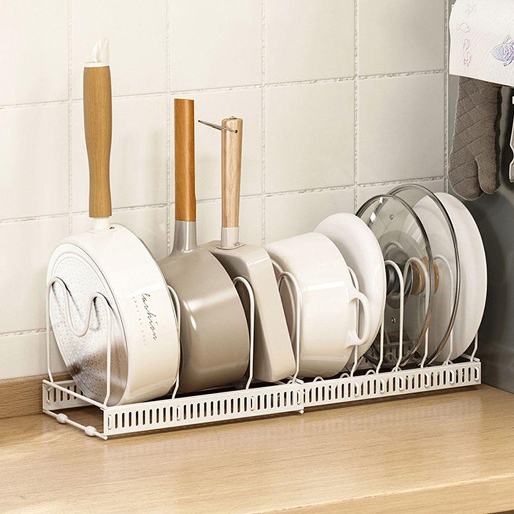 伸縮可調式鍋具收納置物架-白色