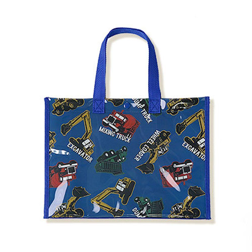 日本 ZOOLAND - 防水PVC手提袋/游泳包-A工具車們-深藍 (25x34x11cm)
