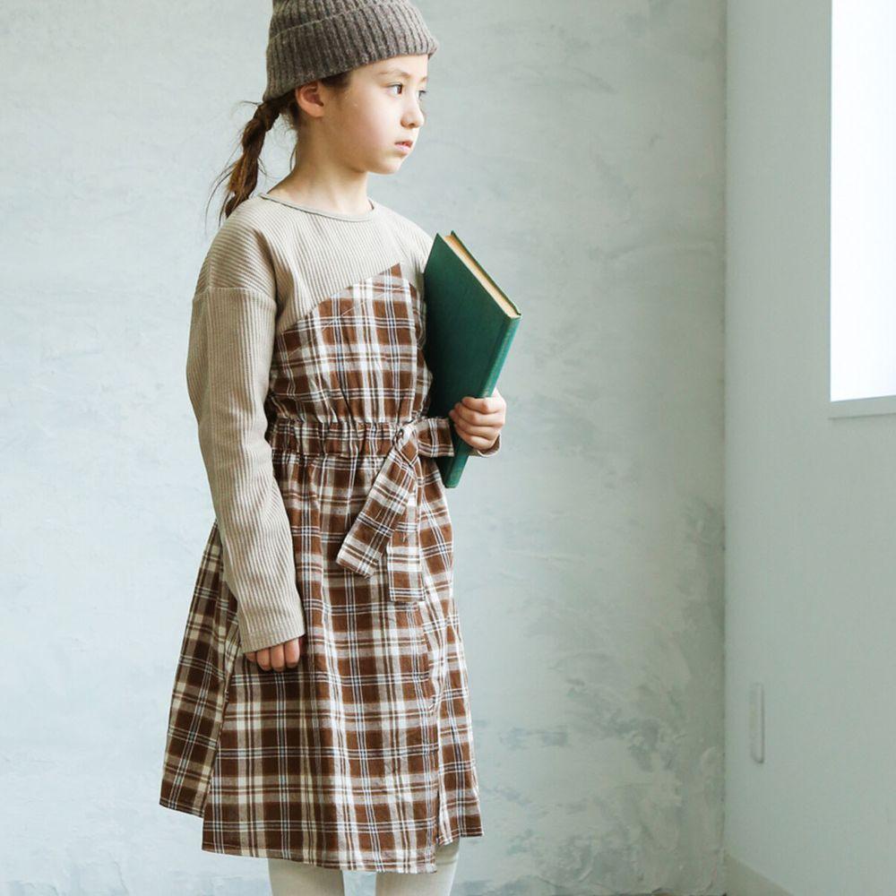 日本 PAIRMANON - 假兩件拼接蝴蝶結鬆餅紋長袖洋裝-格紋-杏X咖啡