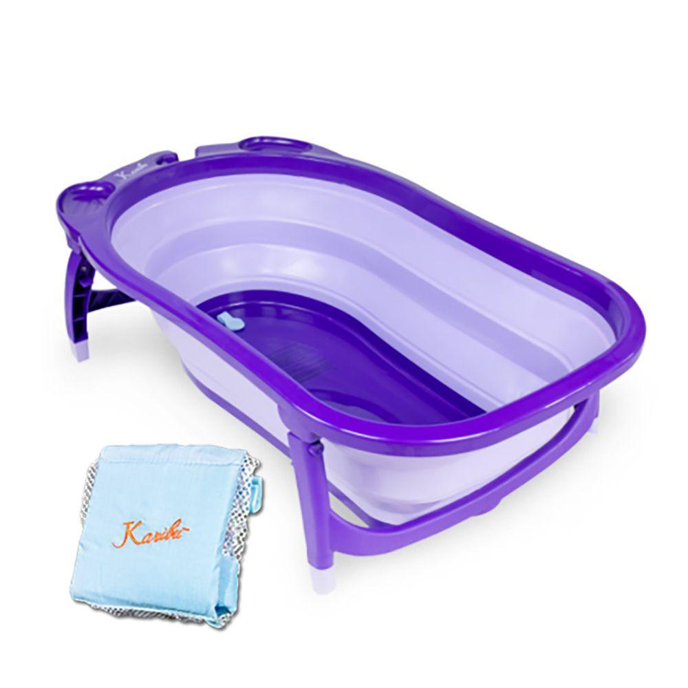 Karibu 凱俐寶 - Tubby 時尚折疊式嬰幼澡盆-紫羅蘭 (0~3歲)-送:嬰兒用浴網-藍色