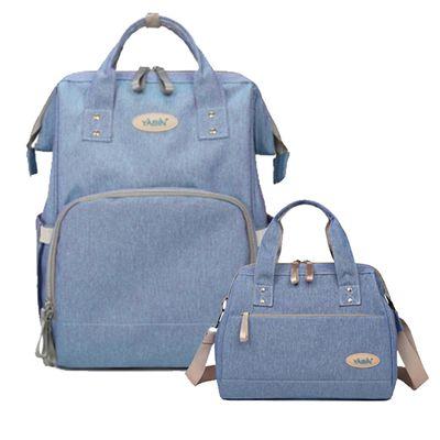 YABIN - 經典大開口後背包+手提小包-大包-淺藍-小包-淺藍色