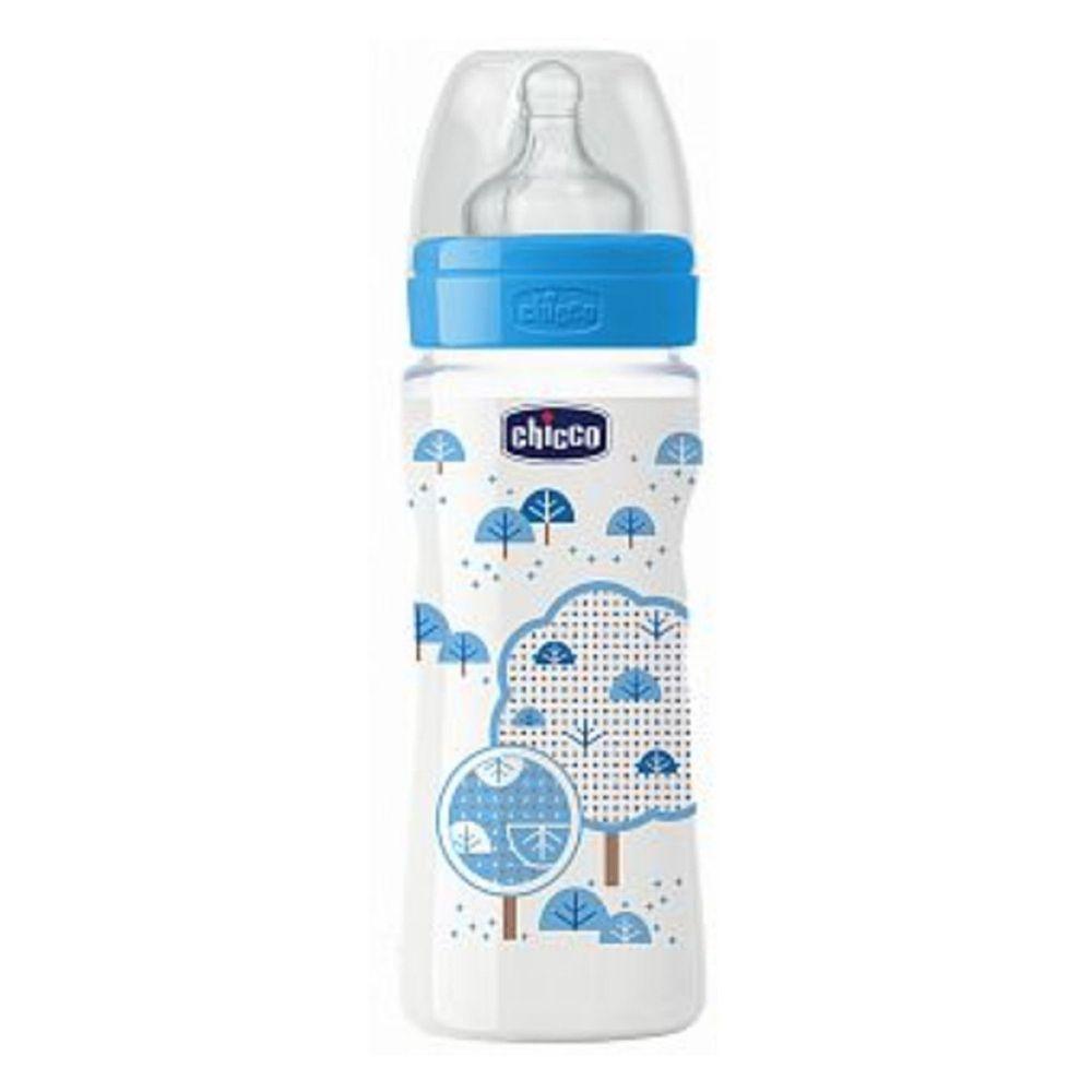 義大利 chicco - 舒適哺乳-帥氣男孩矽膠PP奶瓶-特大(4m+) (330ml)-三孔