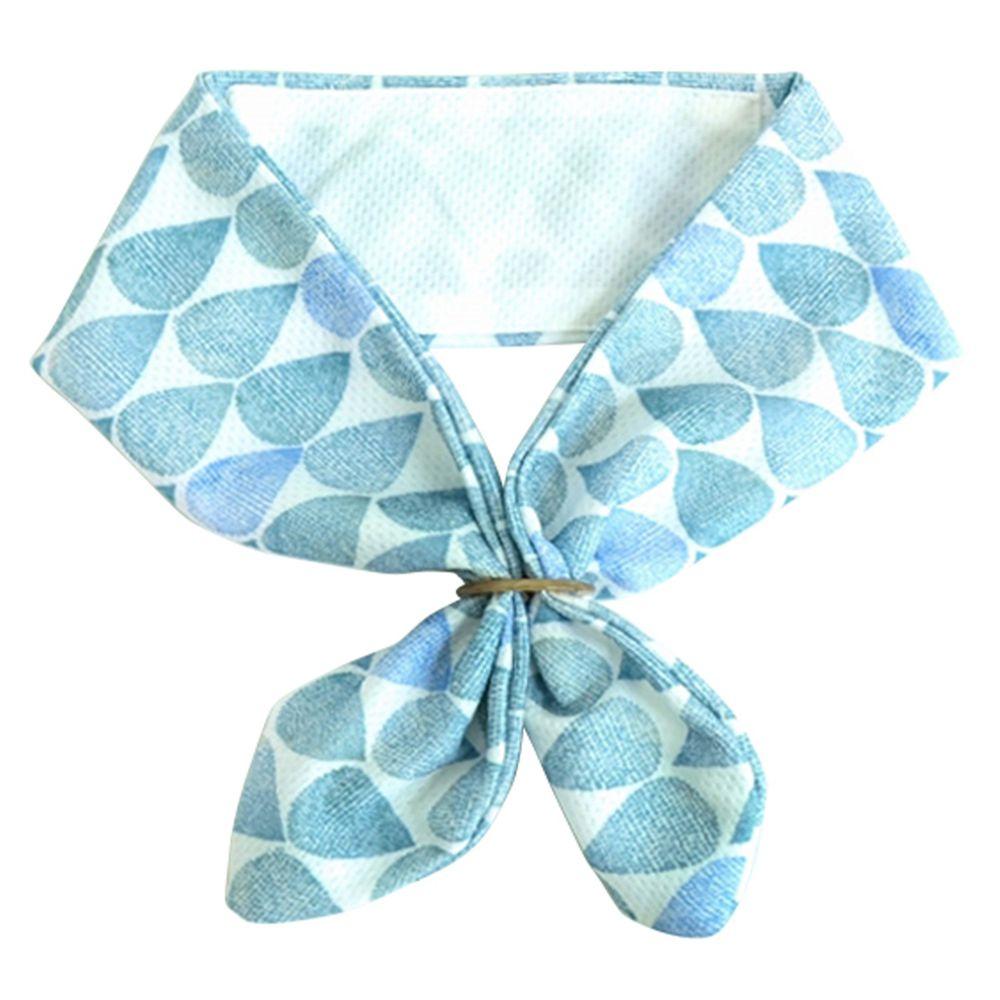 日本 DAIKAI - 抗UV接觸冷感 水涼感領巾(可放保冷劑)-夏日雨點-水藍 (70x8cm)