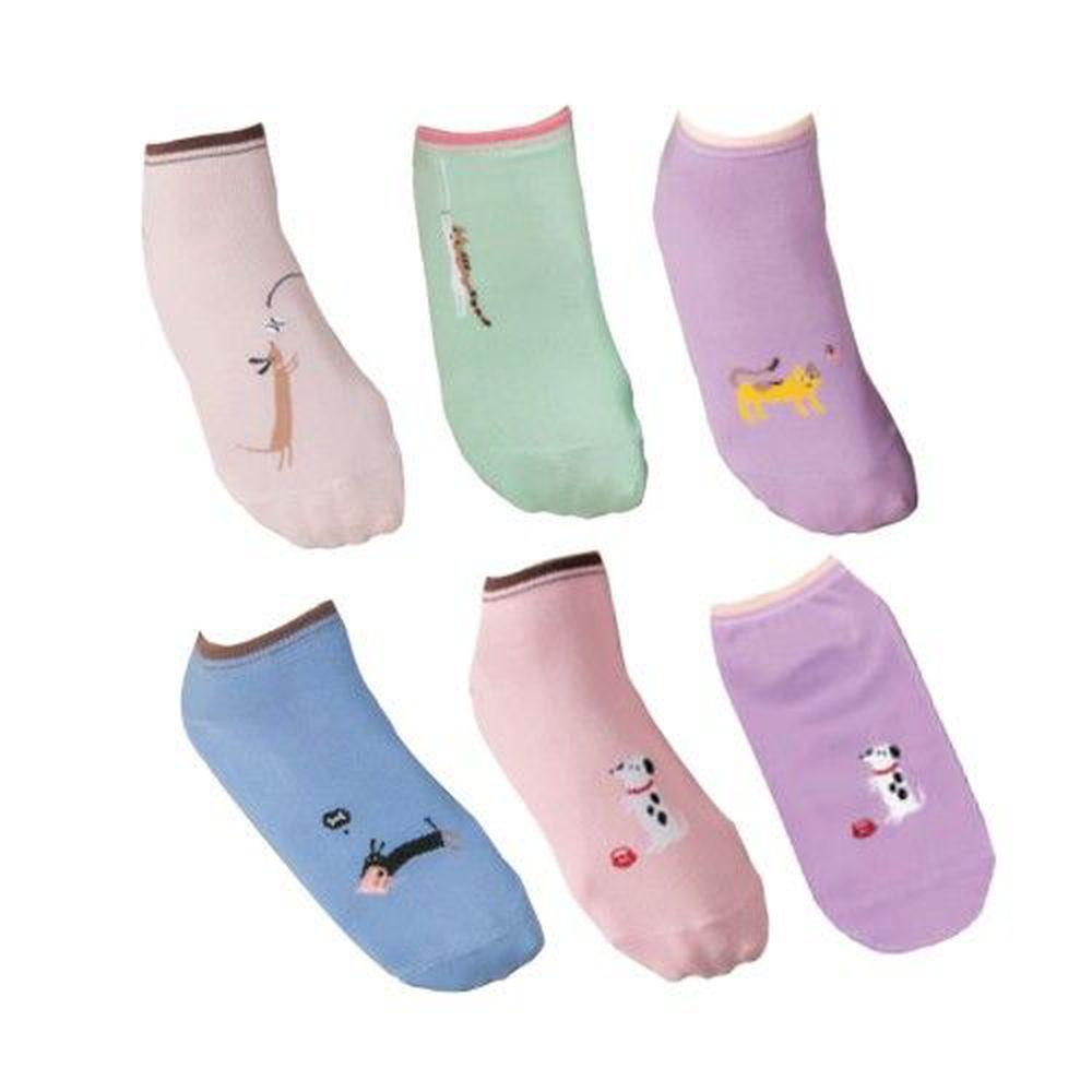 貝柔 Peilou - 毛小孩萊卡船型襪6入組-隨機款-隨機色 (22-26cm)