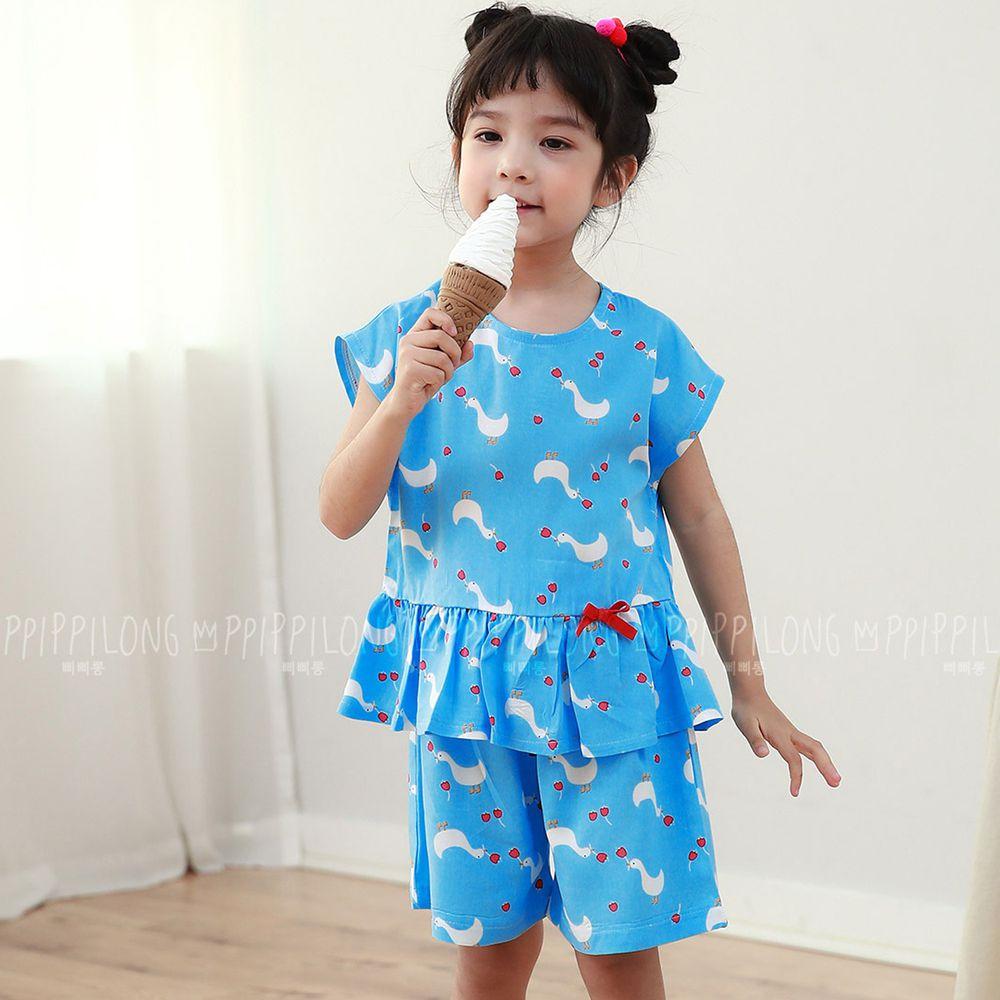 韓國 Ppippilong - 天然纖維涼感套裝-藍色鴨鴨