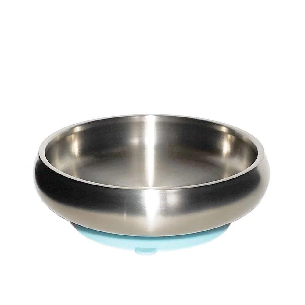 美國little.b - 316雙層不鏽鋼寬口麥片吸盤碗-寶貝藍-(碗*1, 吸盤*1)