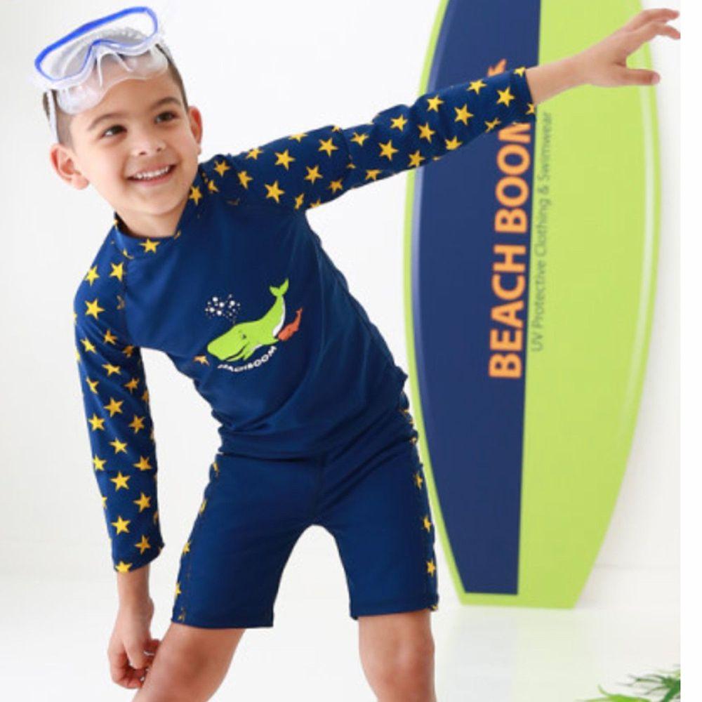 韓國 Beach Boom - UPF50+長袖泳裝-噴水鯨魚