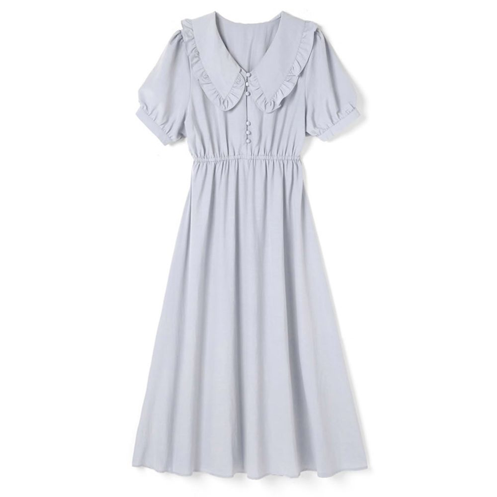 日本 GRL - 復古圓領古典風短袖洋裝-寶貝藍 (M)