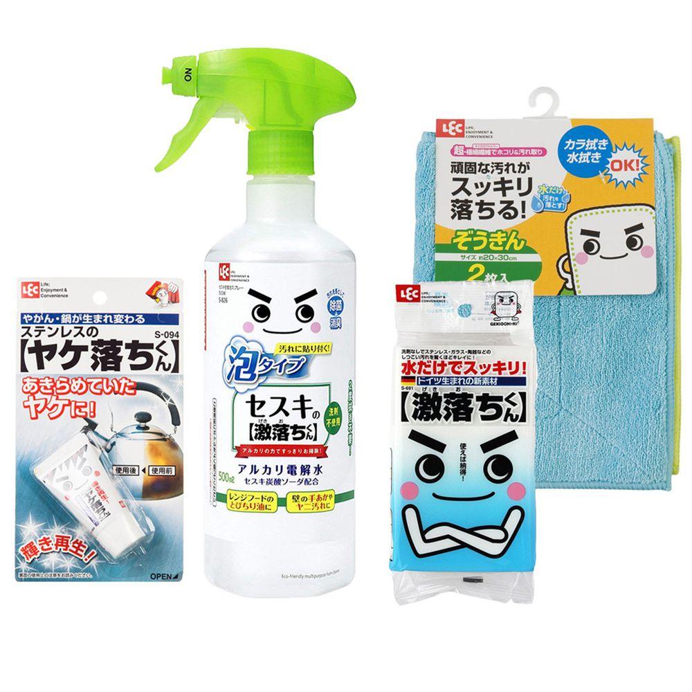 日本 LEC - 家電顧到好組合-倍半碳酸鈉泡沫款500ml+不鏽鋼清潔劑20g+免洗劑海綿+超細纖維抹布2入組