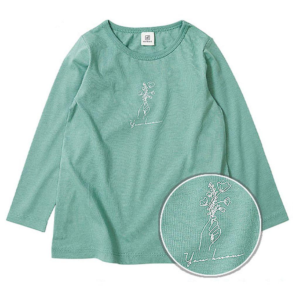 日本 devirock - 純棉 定番百搭印花長T-花束-綠
