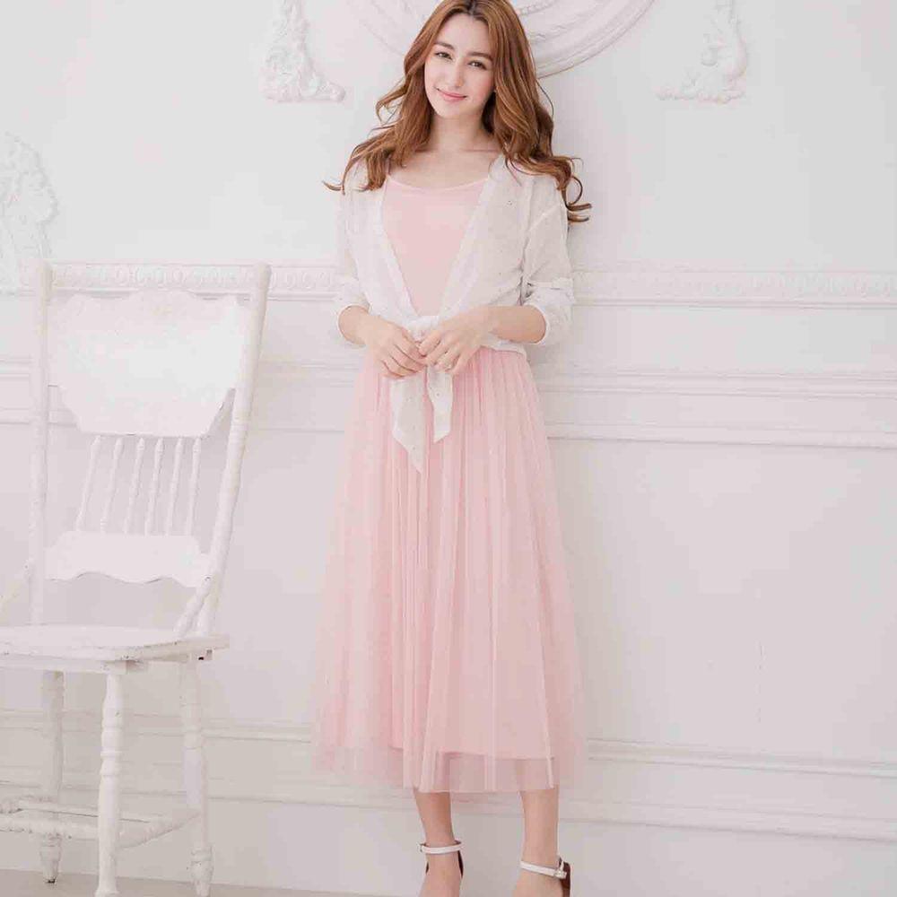Peachy - 獨家訂製綿柔連身紗裙-細肩帶連身款-蜜桃粉 (F)
