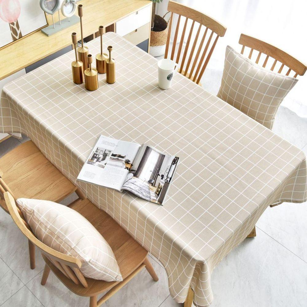 防水防油免洗桌布-簡約格紋-淺咖啡色