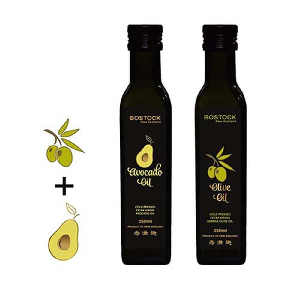 壽滿趣-紐西蘭BOSTOCK - 頂級優惠兩組-頂級冷壓初榨酪梨油+原味橄欖油-250ml*2