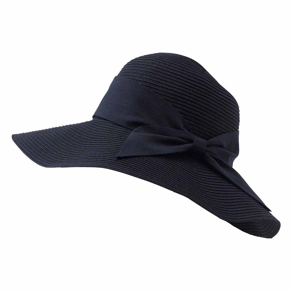 日本小泉 - UV cut 99% 涼感 大帽簷遮陽帽-素面寬版蝴蝶結-黑 (可調頭圍~58cm)