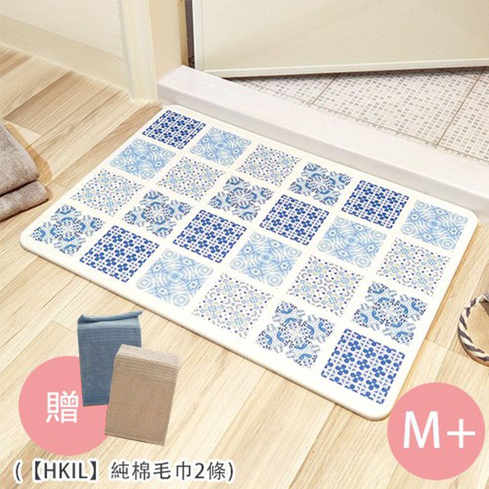 MBM - 第二代水洗式高效吸水地墊-花磚款-混搭鄉村M+ (贈【HKIL】純棉毛巾2條) (50cmx35cmx12mm)