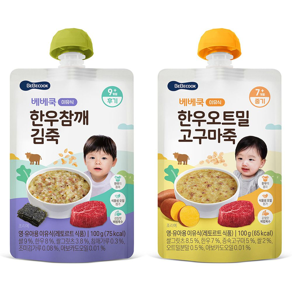 BEBECOOK 寶膳 - 嬰幼兒韓牛粥 二入組 (韓牛地瓜燕麥+韓牛芝麻海苔)-100g*2