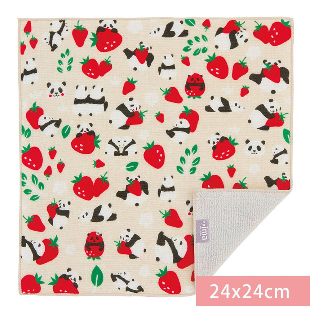 日本代購 - 【ima+】日本製今治純棉手帕-草莓熊貓-杏 (24x24cm)