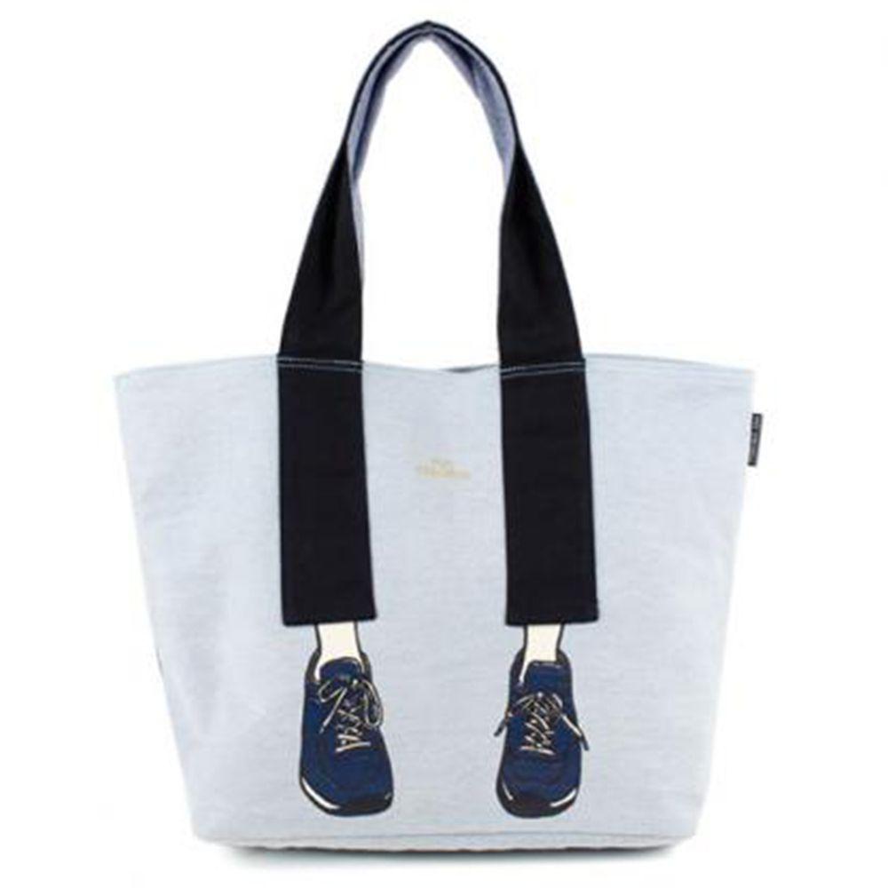 mis zapatos - 肩背托特美腿包(棉布)-運動鞋-LB淺藍 (33*33*17cm)
