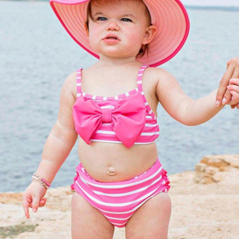 美國 RuffleButts - 小女童無袖比基尼泳裝-桃色蝴蝶條紋