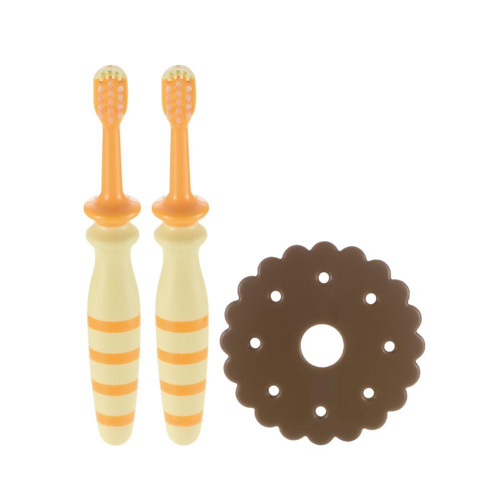 日本 Richell 利其爾 - 訓練型乳牙刷第一階_12M-12m適用-黃/橘