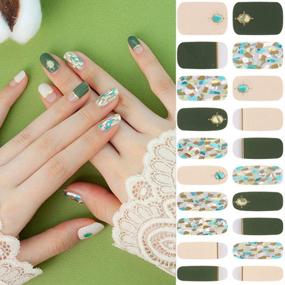 韓國 Glossy Blossom - 美甲貼-墨綠玻璃-一張20貼+美甲貼磨甲棒