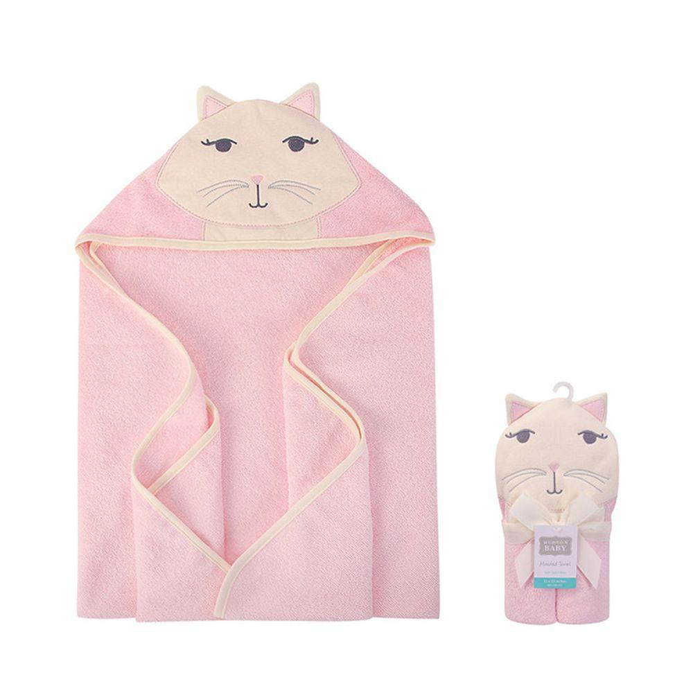 美國 Luvable Friends - 嬰幼兒動物造型100%純棉連帽浴巾/包巾-甜美貓咪 (單一尺寸)