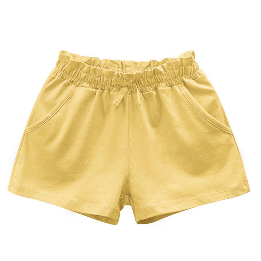 花邊鬆緊純棉短褲-淺黃色