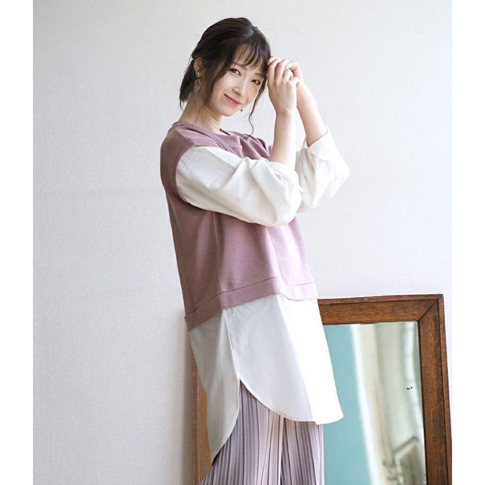 日本 zootie - 假兩件異材質襯衫背心造型長袖上衣-灰粉