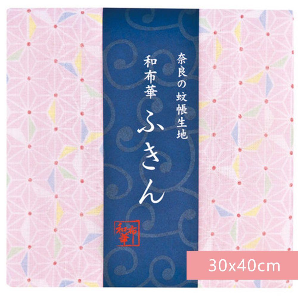 日本代購 - 【和布華】日本製奈良五重紗 方巾-粉紅麻之葉 (30x40cm)