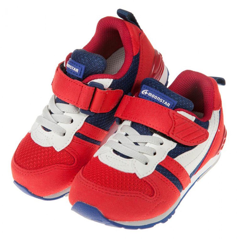 Moonstar日本月星 - Hi系列紅藍色兒童機能運動鞋
