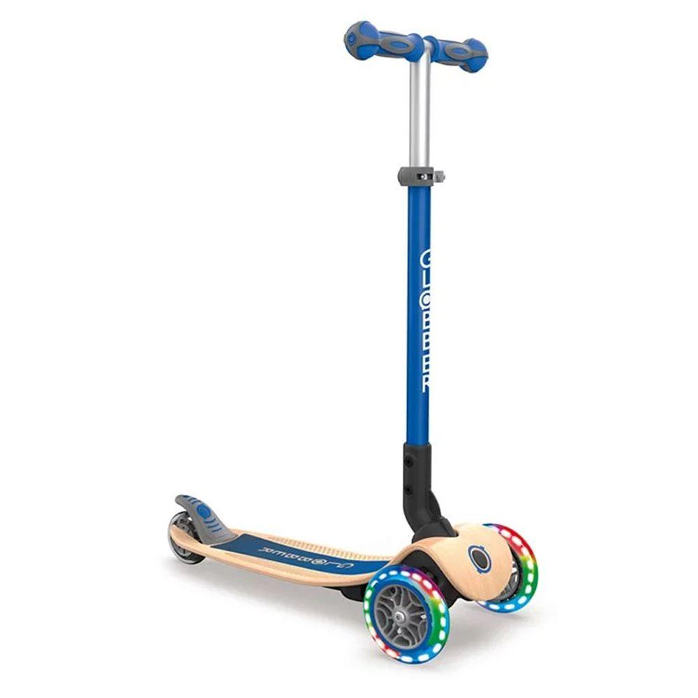 法國 GLOBBER - 2合1三輪折疊滑板車木製版(LED發光前輪)-海軍藍